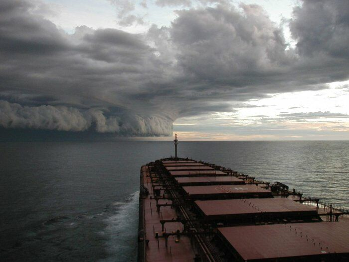 hurricane isabel approaching oil tanker